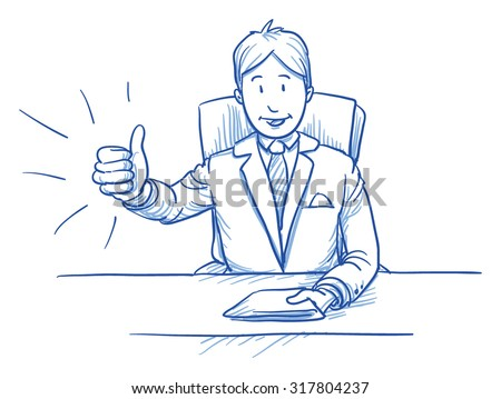 Business man, happy smiling boss or customer, sitting at his desk showing like, thumbs up, hand drawn doodle vector illustration - stock vector