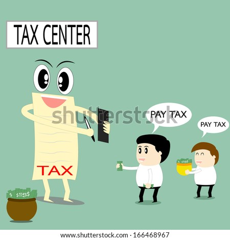 Business man happy to pay tax. Business concept vector. - stock vector