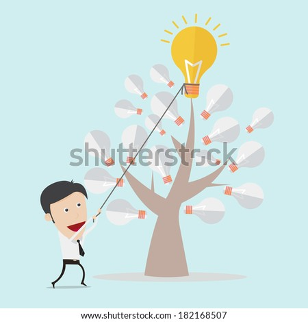 Business man harvest a bulb by using rope  - stock vector