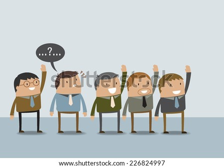 Business man have question mark in the head  - stock vector