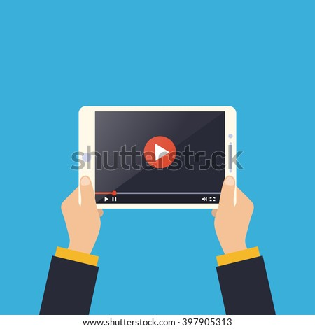 Business man holding tablet computer with video player on screen. Using digital tablet pc. Flat design concept online video. Vector illustration - stock vector