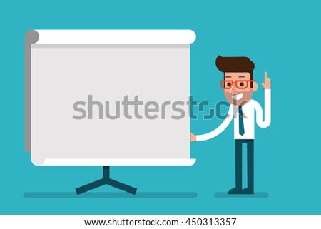 Business Man holding whiteboard - presentation flat style cartoon. - stock vector