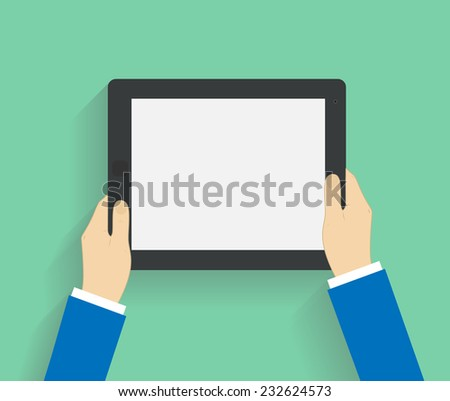 Business man holds holding tablet computer with white blank screen. Using digital tablet pc. Flat design concept with copy space. Vector illustration EPS10 - stock vector