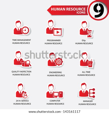 Business man,Human resource red version icons,vector - stock vector