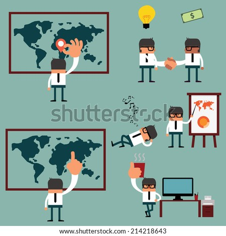 Business man in Different Actions Set - Vector Illustration for Your Business . - stock vector