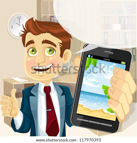 Business man in office  shows a photo resort on the phone - stock vector