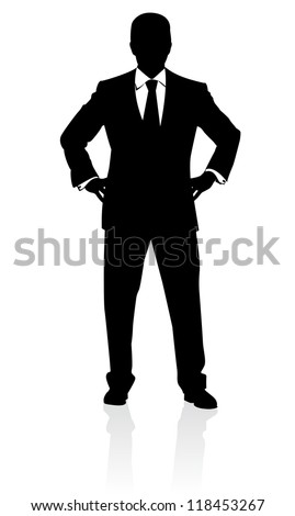 Business man in suit and tie silhouette. Illustration on white - stock vector