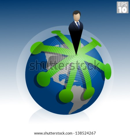 Business man in suit or presidential ruler, standing on world with multiple paths of expansion around the globe - stock vector