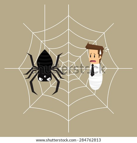 business man is trapped in the spider's web. vector - stock vector