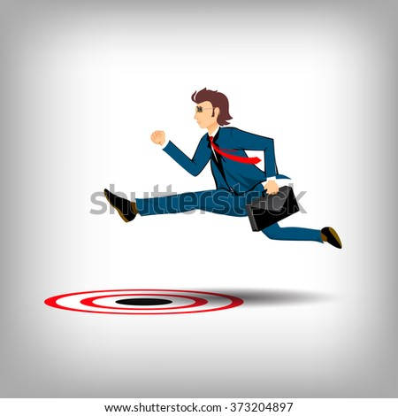 Business man jumping over the target, business icon concept - stock vector