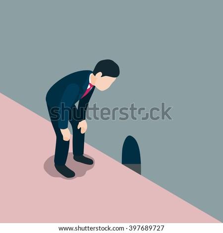 Business man look down through rat hole. vector illustration. - stock vector