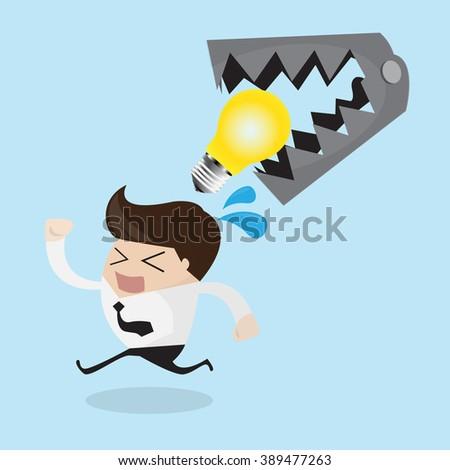 Business man lose idea  - stock vector