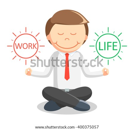 Business man meditating work life - stock vector