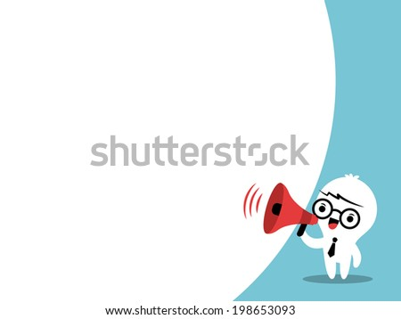 Business man on megaphone makes an announcement with bubble speech - stock vector