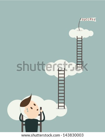 Business man on stairs to success ,Business concept, vector format - stock vector
