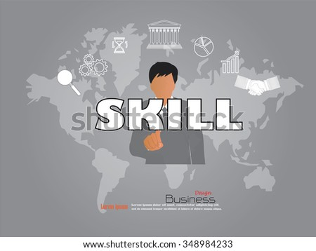 business man point to skill word with business icon. skill concept. Vector illustration. - stock vector