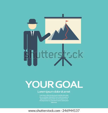 Business man presentation on flipchart with mountain top as success symbol in modern flat design. Simple style cartoon for presentations. Eps10 vector illustration - stock vector