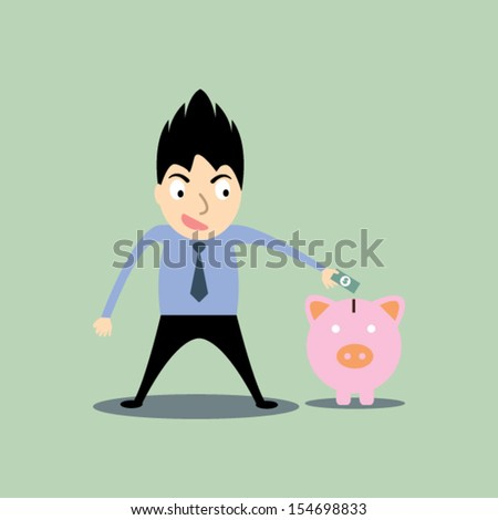 business man putting money in the piggy - stock vector
