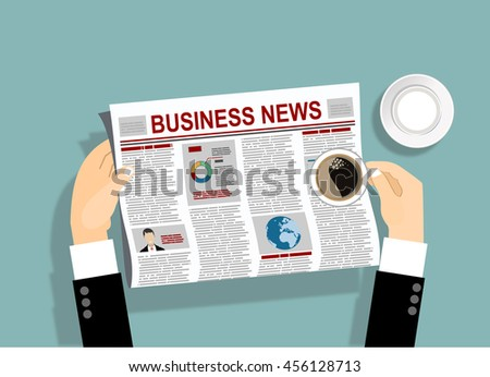 Business man reader Newspapers with a cup of coffee. Flat design style. - stock vector
