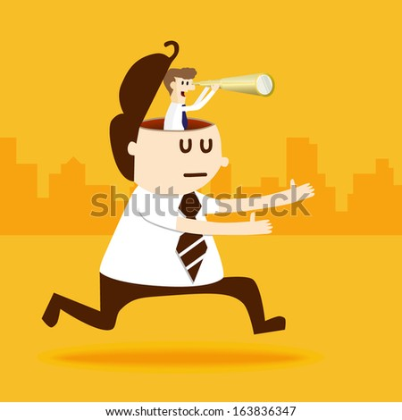 Business man run with guide and binocular - stock vector