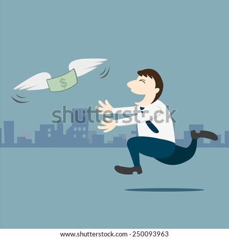 Business man running follow the money - stock vector