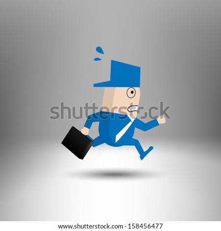 Business man running hurriedly - stock vector