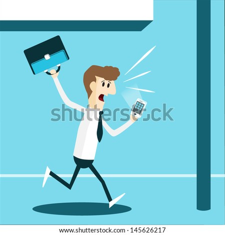 Business man running in rush hour, EPS10 vector format - stock vector