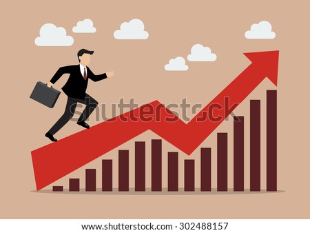 Business man running on growing graph. eps10 vector format - stock vector