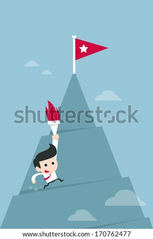 business man running to top - stock vector
