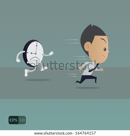 Business man running with the time, vector illustration - stock vector