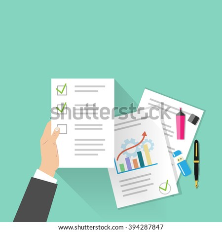 Business man's hand holding a paper document. Project development, audit, statistics, data analytics concept. Documents with text and diagrams, markers, usb stick fountain pen in flat vector style. - stock vector