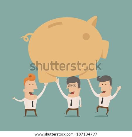 Business man save money, eps10 vector format - stock vector
