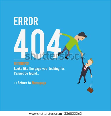 Business man saving. Page not found, 404 error. Web page. - stock vector