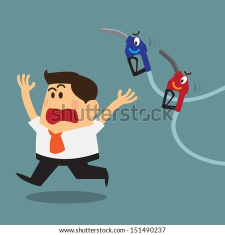 business man scary and run away from fuel nozzles - stock vector
