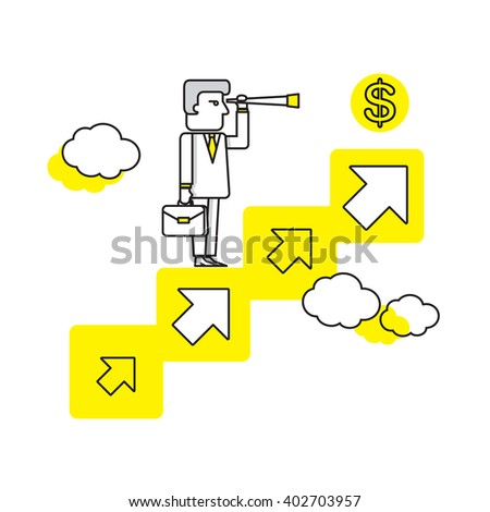 business man Searching for opportunities concept art vector illustration. business goal concept. - stock vector