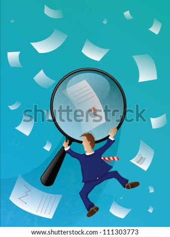 Business Man Searching/Vector Illustration - stock vector