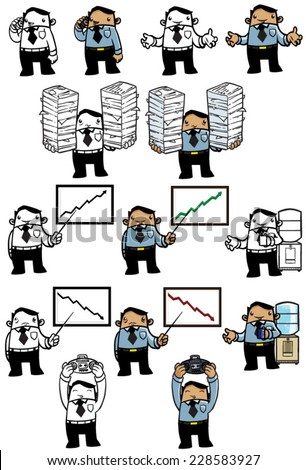 Business Man Series: Funny cartoon illustration of a young business man in various poses. COLOR and BW  - stock vector