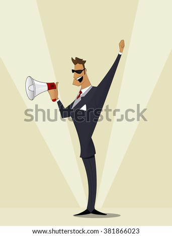 Business man shouting in  megaphone. Man announcing through loudspeaker advertising. Announcing promotion and banners concept. Vector illustration in a flat design style - stock vector