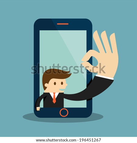 Business man show okay in a cellphone screen - stock vector