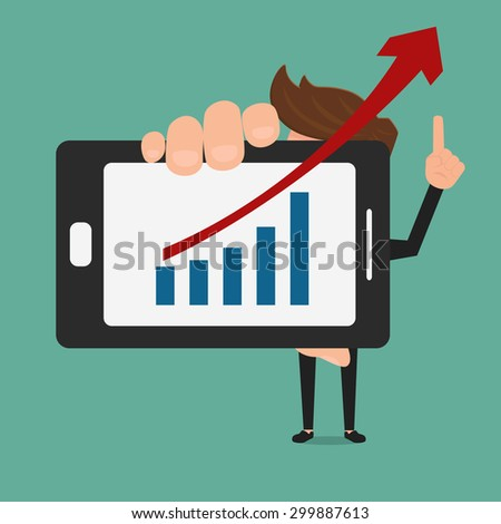 Business man showing increasing bar chart on smart phone. Cartoon Vector Illustration. - stock vector