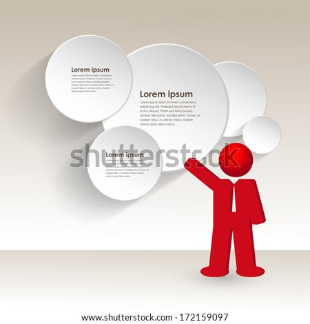 business man shows a business strategy, vector illustration - stock vector