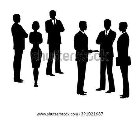 Business man silhouette. Black silhouettes of a group of business separately  - stock vector