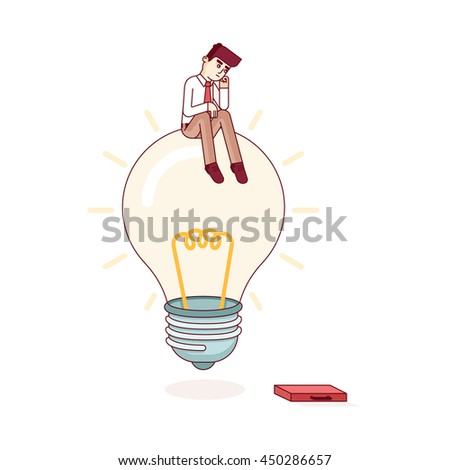 Business man sitting on idea light bulb and thinking. Solving problem and looking for solution concept. Modern flat style thin line vector illustration metaphor. Concept isolated on white background. - stock vector