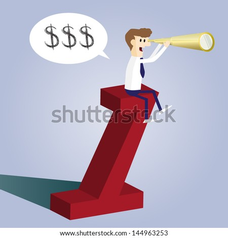 Business man sitting on numper one and looking for money, EPS10 vector format - stock vector