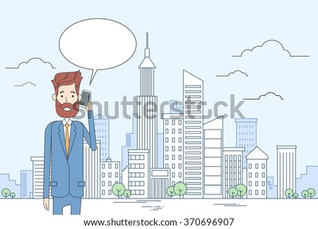 Business Man Smart Cell Phone Talk Businessman Chat Bubble Communication Over Big City View Vector Illustration - stock vector