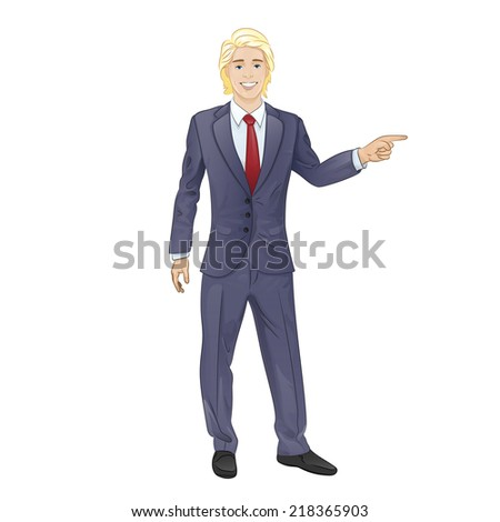 business man smile point finger empty copy space, businessman showing pointing side, concept advertisement product isolated over white background, vector illustration - stock vector
