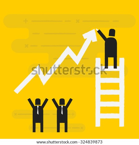Business man standing on ladder drawing growth chart. - stock vector
