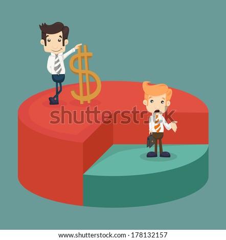 Business man standing over pie chart  , eps10 vector format - stock vector