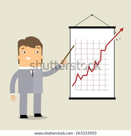 Business man standing pointing at chart and presentation. - stock vector
