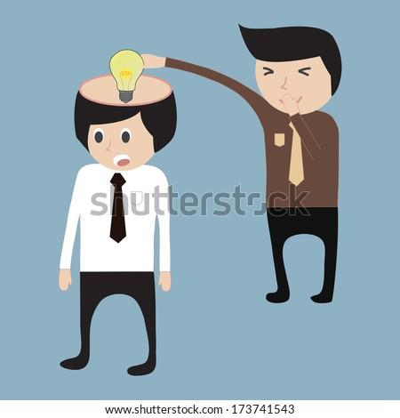 business man steal idea - stock vector